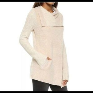 Anthro/ La Fee Verte Draped Ivory Boucle Cardi. M